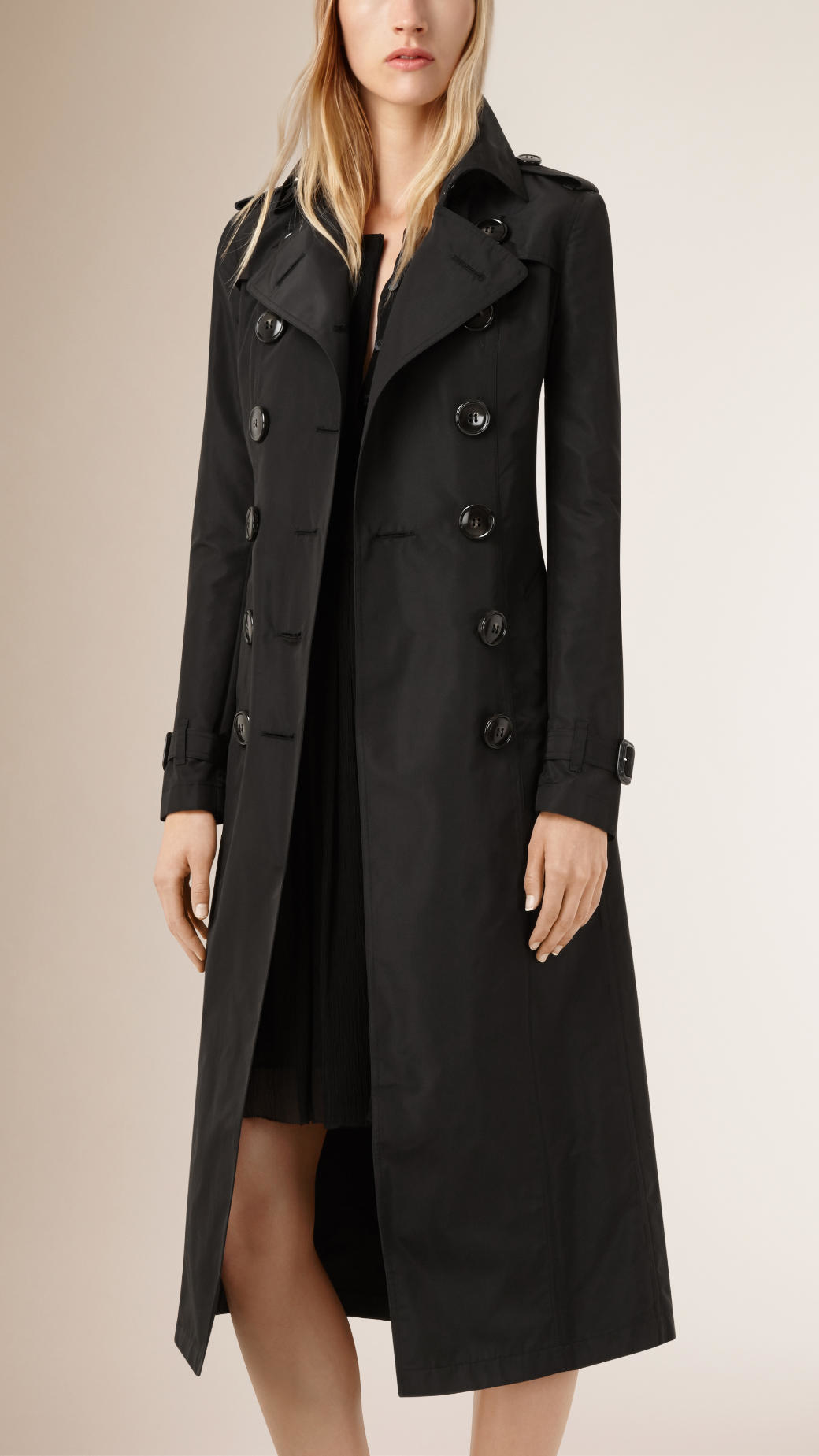 Burberry Black Silk Trench Coat Pick A Size 36 40 44 46 View