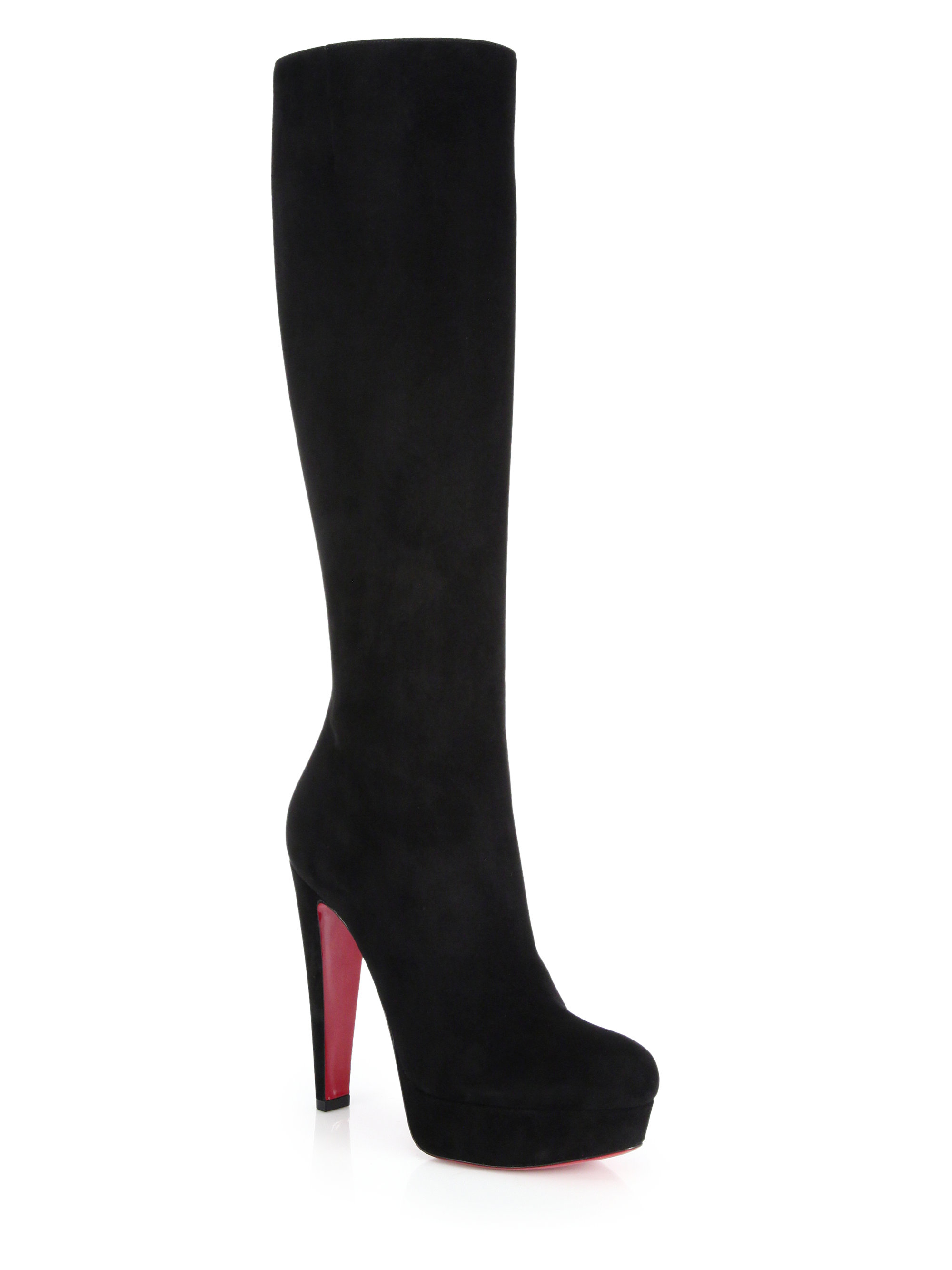 87626062797e Lyst - Christian Louboutin Lady Suede Knee-high Platform Boots in Black