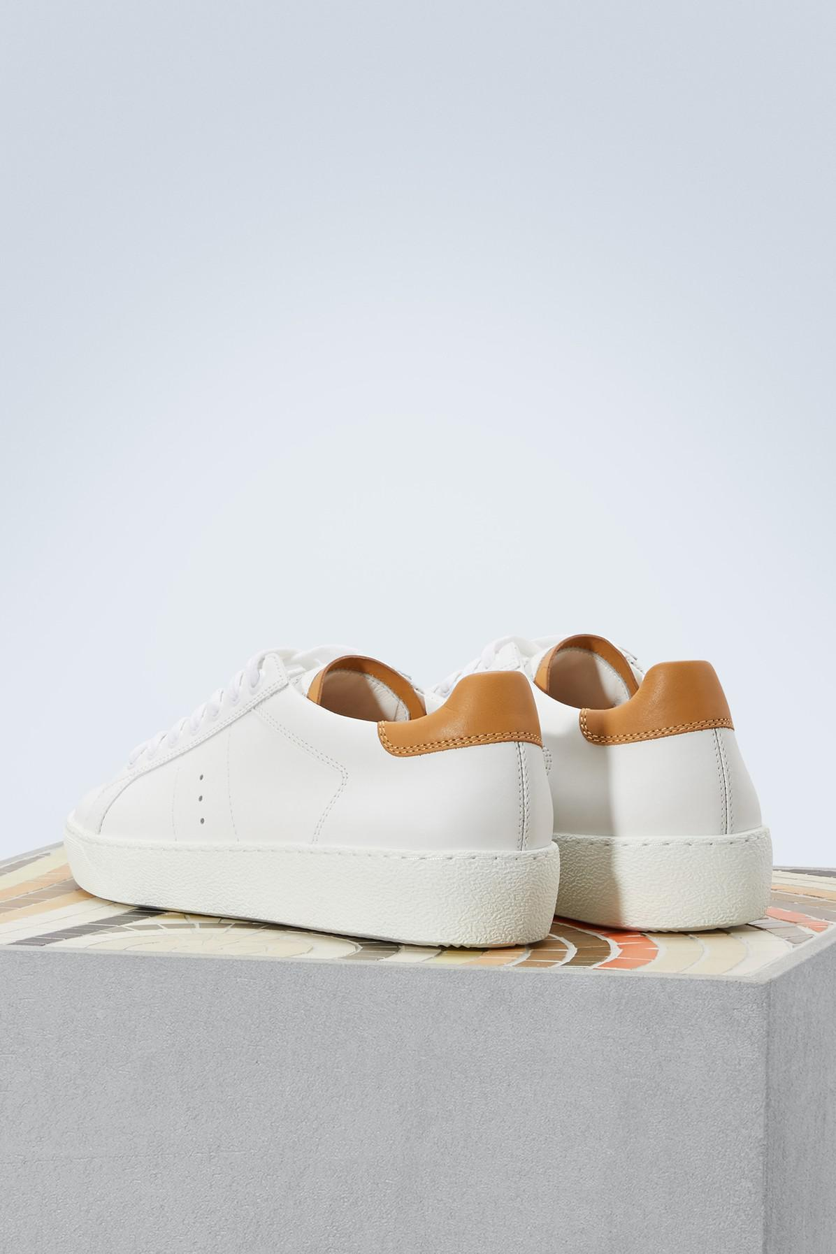 Fashion Style Online Clearance Shop J.M. Weston White and camel smooth calfskin sneakers Discount Fashionable Sale Collections IUtFiAk2u