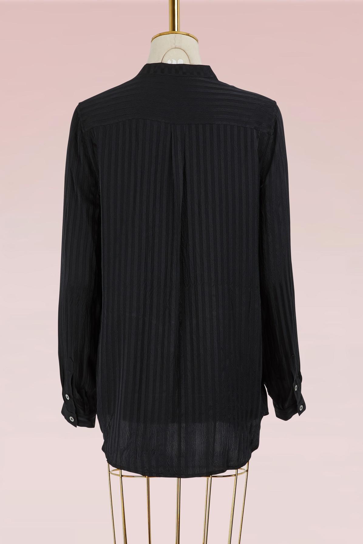 Lyst equipment silk henry shirt in black for Equipment black silk shirt