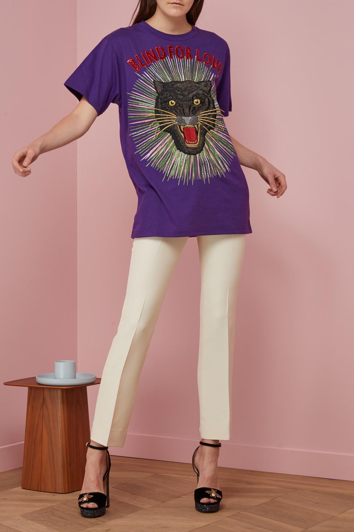 fdacf996 Gucci Panther With Rays Cotton T-shirt in Purple - Lyst