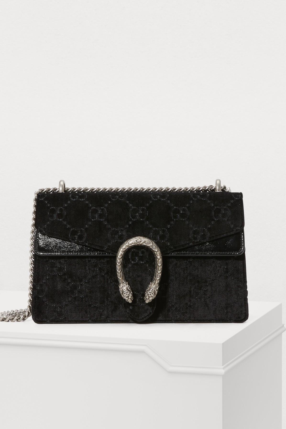 a292c39e471 Lyst - Gucci Dionysus GG Velvet Small Shoulder Bag in Black - Save 21%