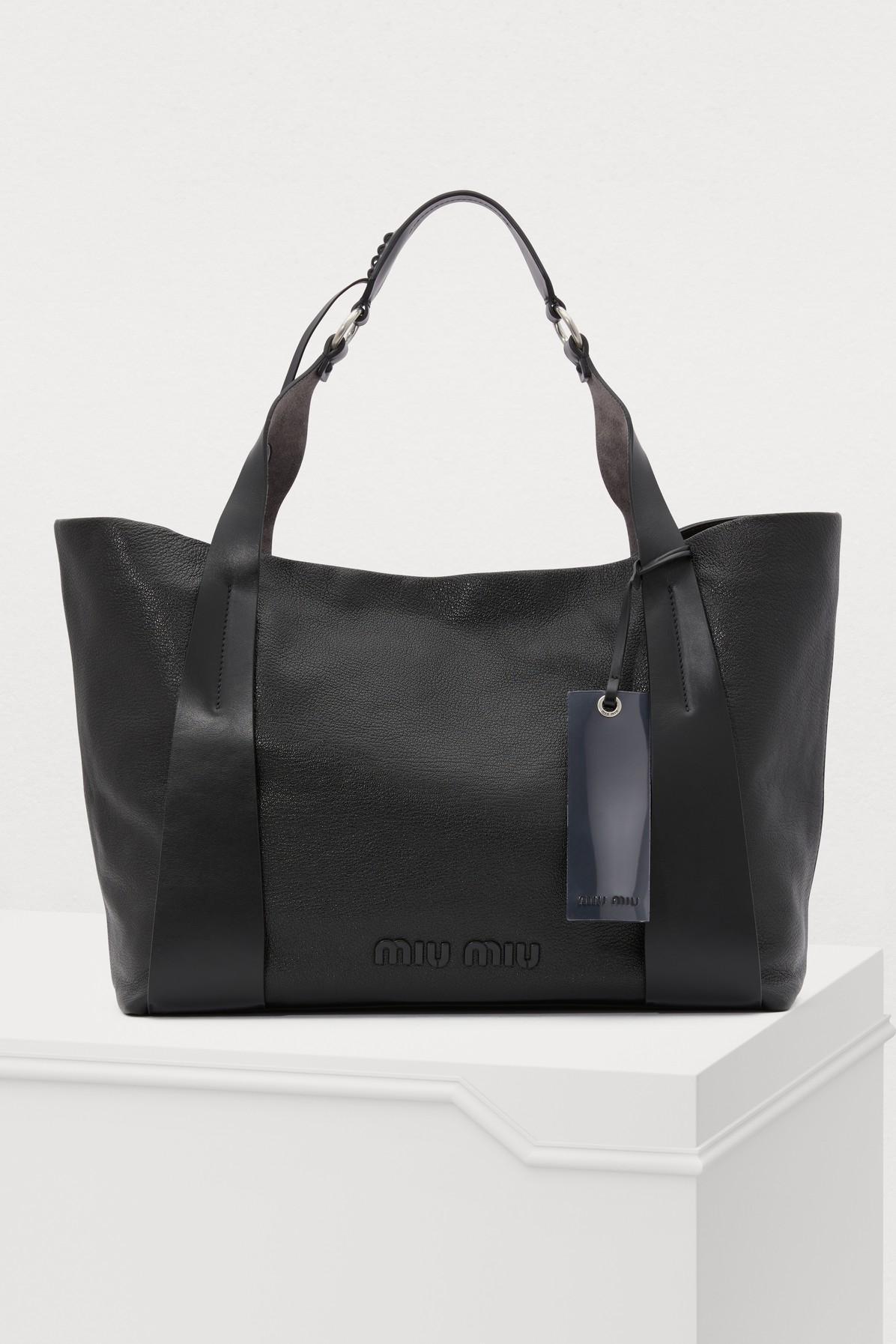 22cc01ef4136 Miu Miu. Women s Black Leather Gm Tote Bag.  2
