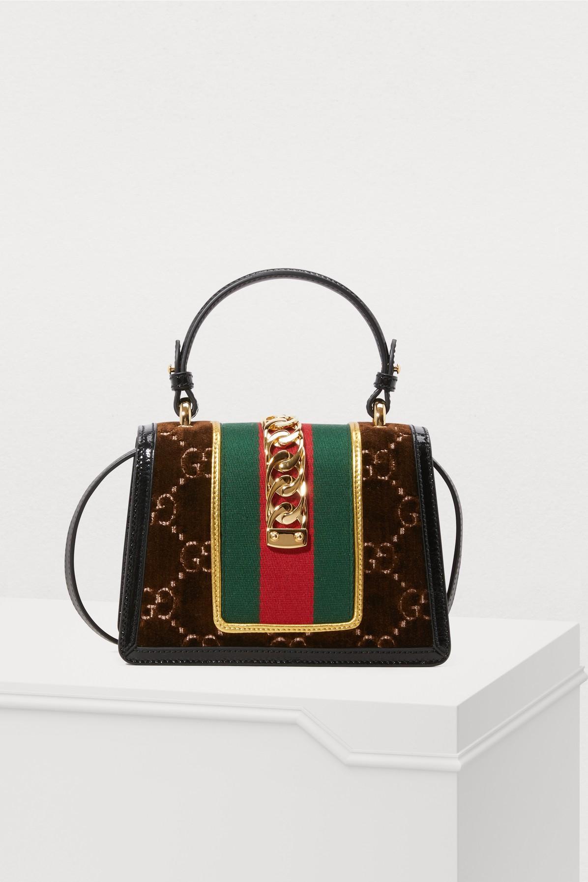 878772bac ... Brown Sylvie GG Velvet Mini Hangbag - Lyst · Visit 24S. Tap to visit  site