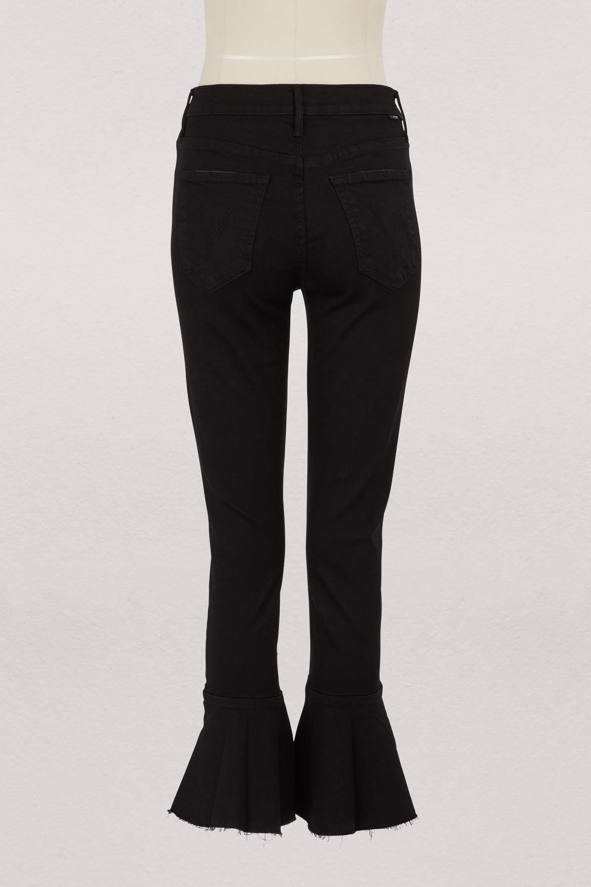 5e63970b4 Mother The Chacha High-waisted Cropped Ruffle Bootcut Jeans in Black ...