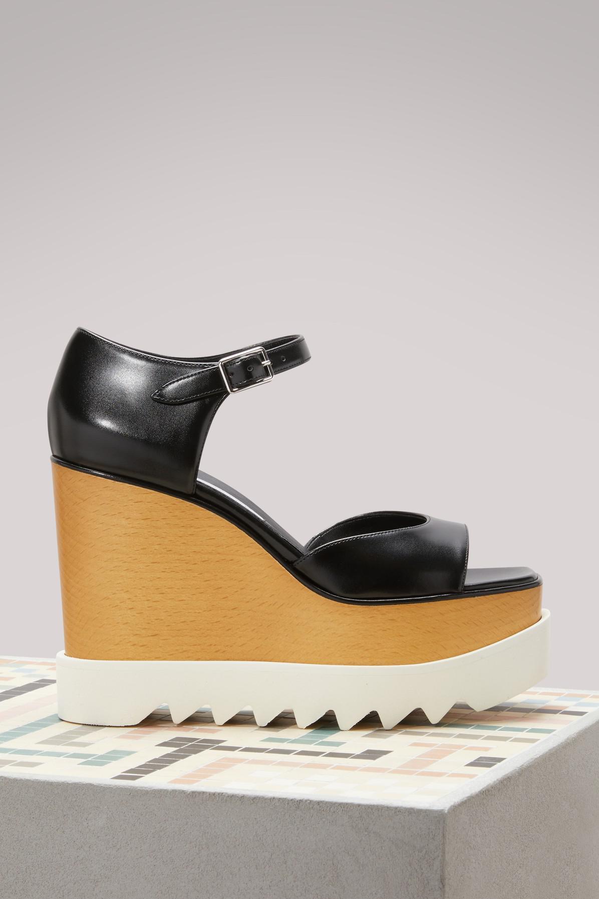 16a0099bc66 Stella McCartney Elyse Wedge Sandals in Black - Lyst