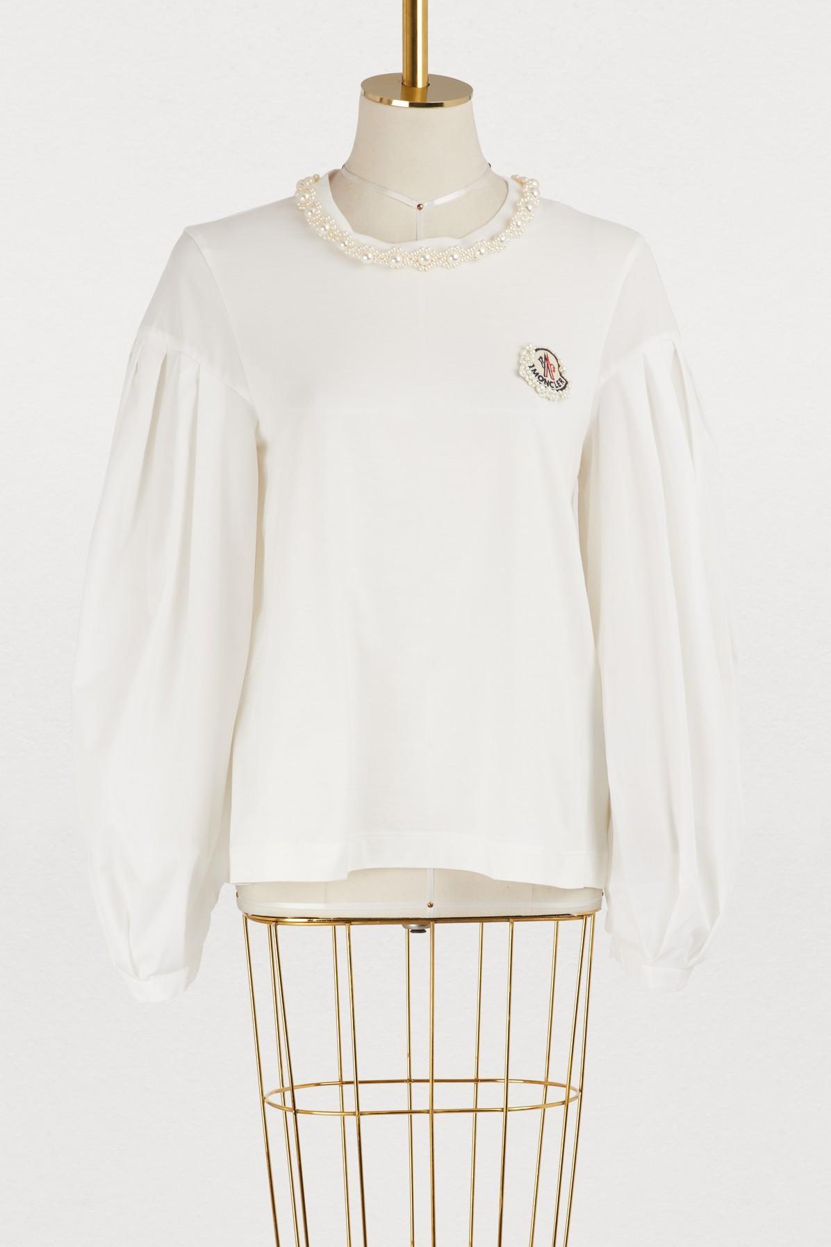 1d9d5bda0b03 Women s White 4 Moncler Simone Rocha Taffeta Sleeve Sweater