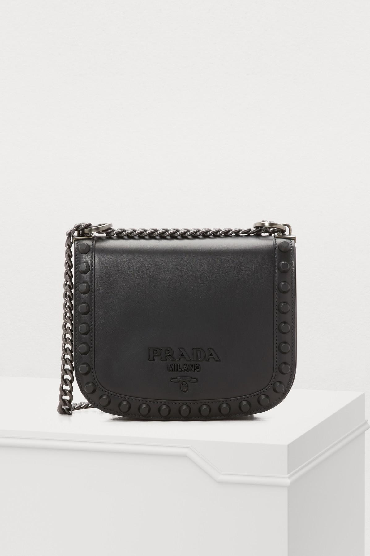 15be3e9d671c Prada - Black Pionnière Studs Shoulder Bag - Lyst. View fullscreen