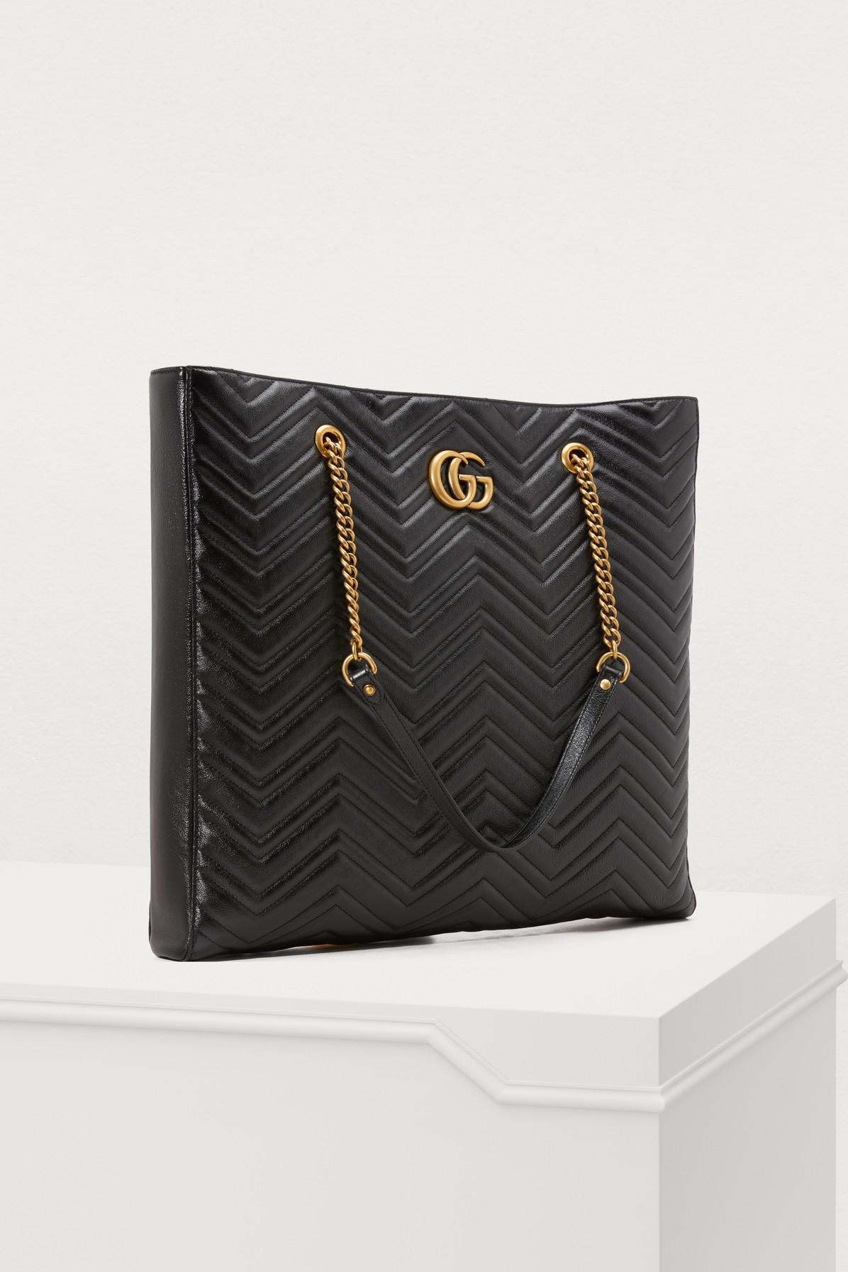 adcf2c3494d Gucci GG Marmont Gm Tote in Black - Lyst