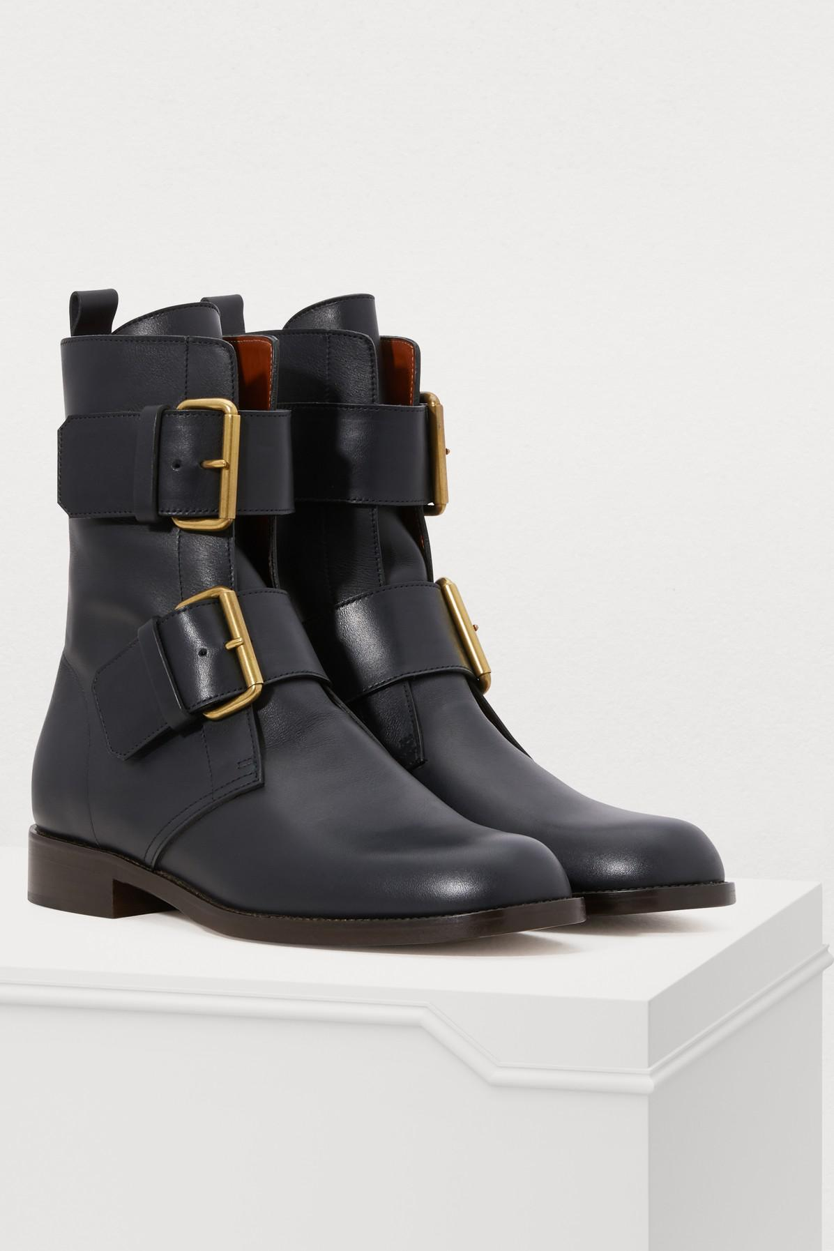 sélectionner pour dernier artisanat de qualité regarder Michel Vivien Leather Emerance Boots in Navy (Blue) - Lyst