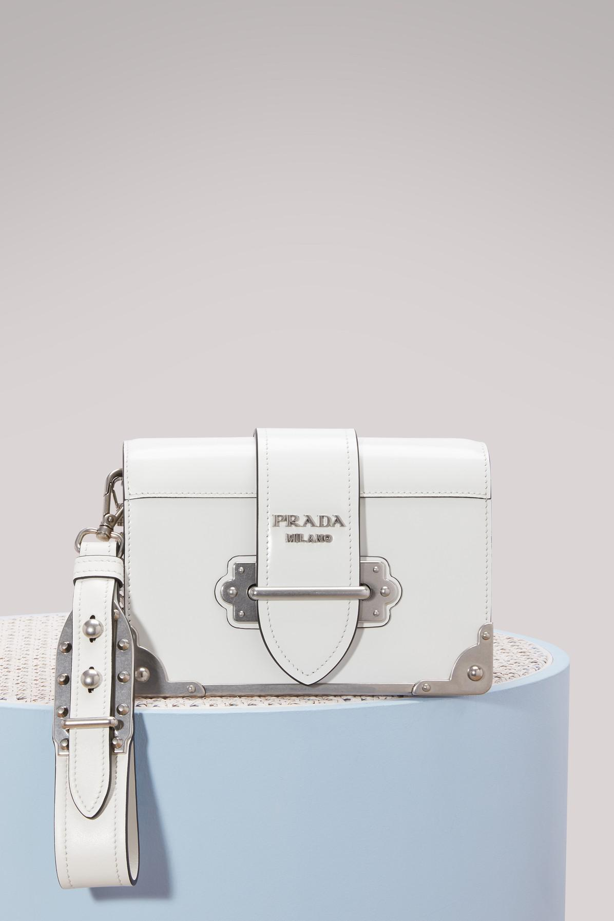 8c34693a8bd4 Prada Mini Cahier Crossbody Bag in White - Lyst