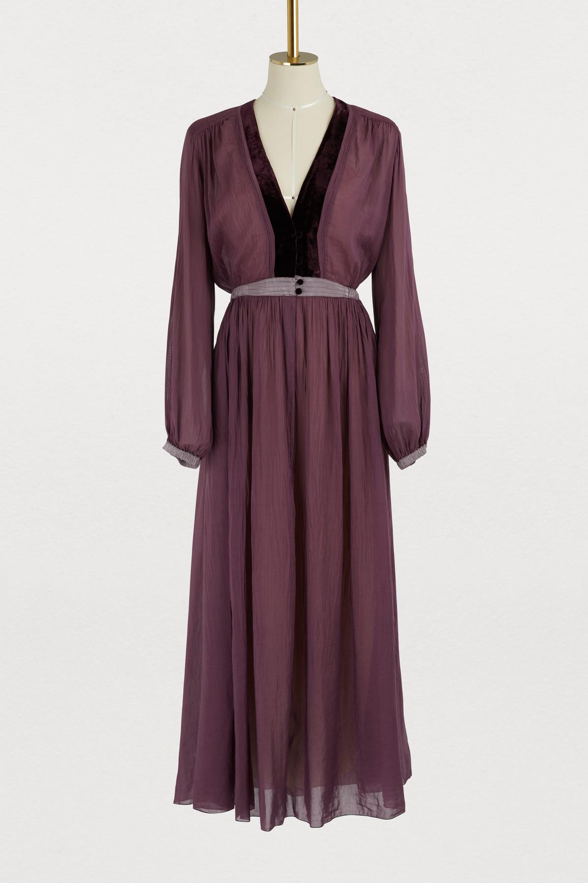 Long dress with velvet details Forte_Forte Sale Pick A Best New Styles For Sale Cheap Price Top Quality Cheapest Ou3Uk9554