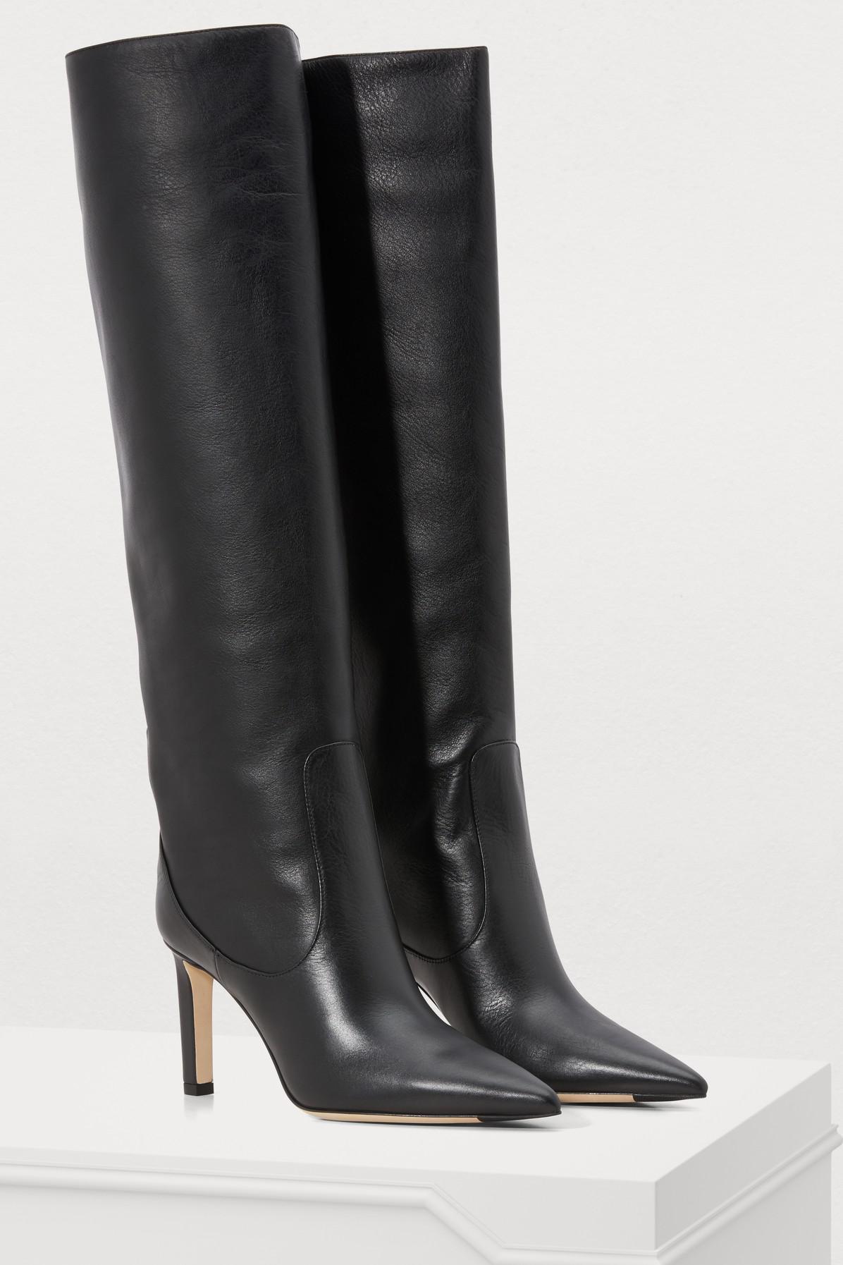 fff46b7599c Lyst - Jimmy Choo Black Mavis 85 Boots in Black