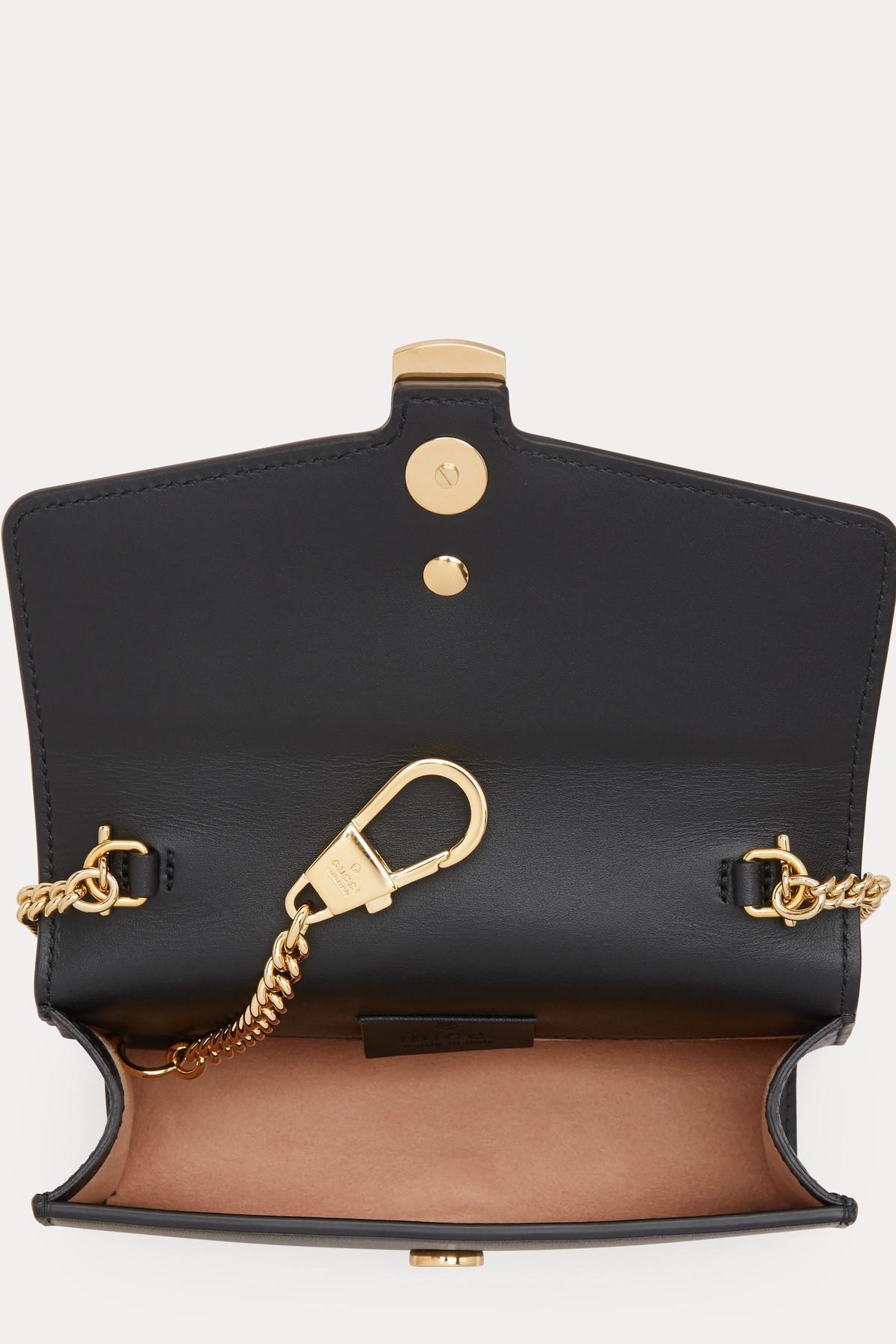 82ba66e7b11 Gucci Sylvie Leather Mini Chain Bag in Black - Lyst