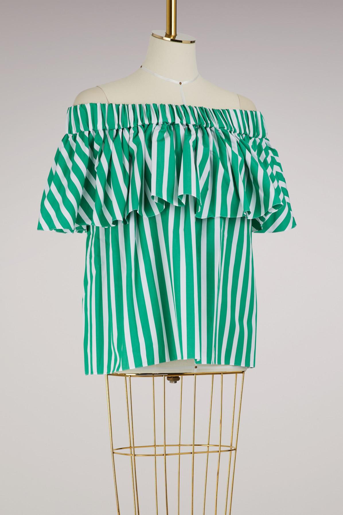 70b2fa241aeb5 Maison Rabih Kayrouz - Green Strapless Stripped Top - Lyst. View fullscreen