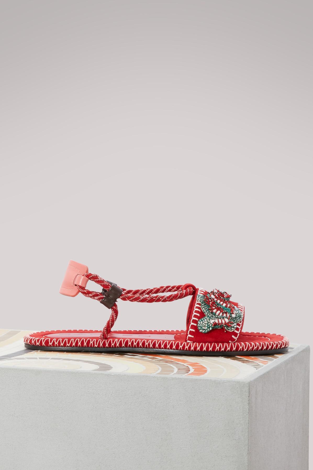 Carven Leather cord sandals S4tkXk0