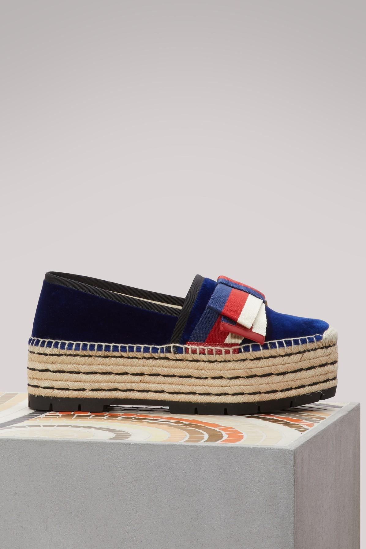 d8d32748074 Lyst - Gucci Velvet Wedge-heel Espadrilles in Blue