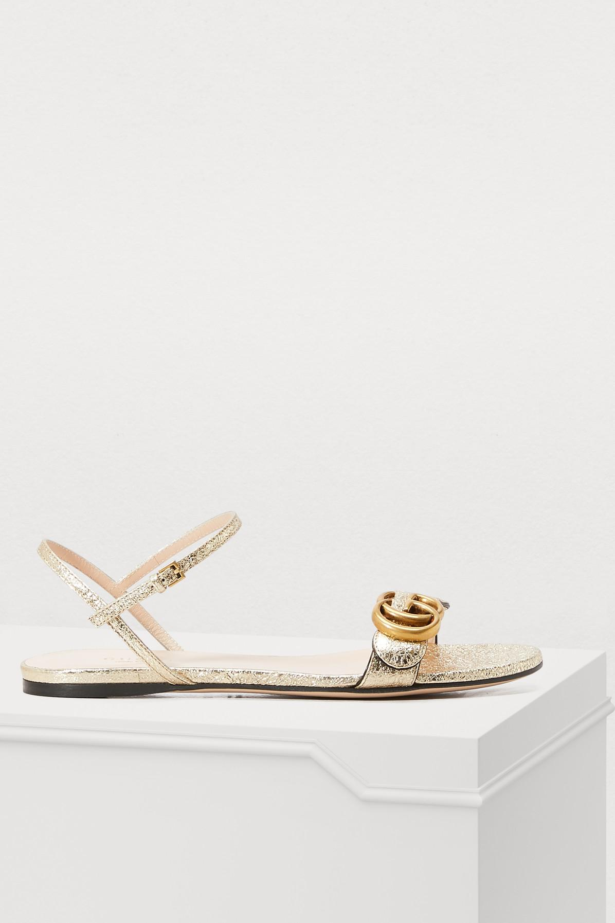 85e378c7bd309 Gucci GG Marmont Sandals in Metallic - Lyst