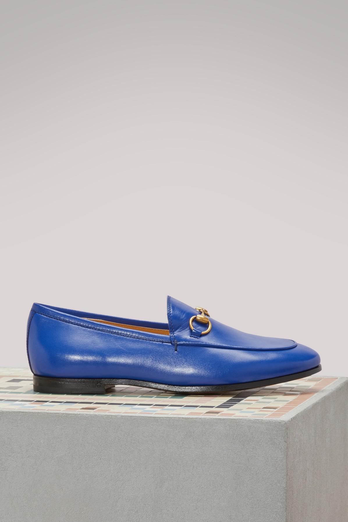 628242a64e4e2f Mocassins Jordaan en cuir Gucci en coloris Bleu - Lyst