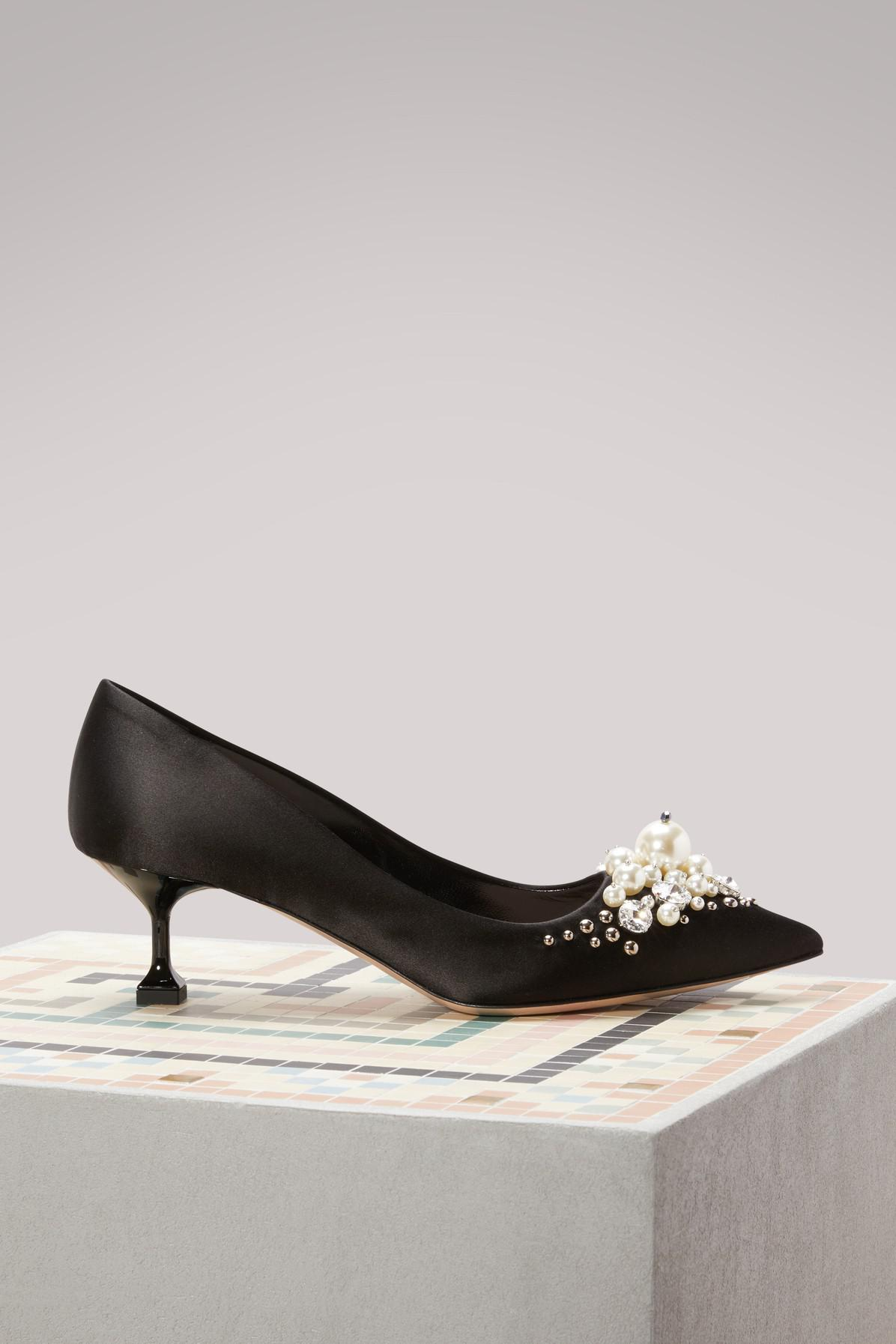 Miu Miu Mid-Heel Pumps With Pearl Details