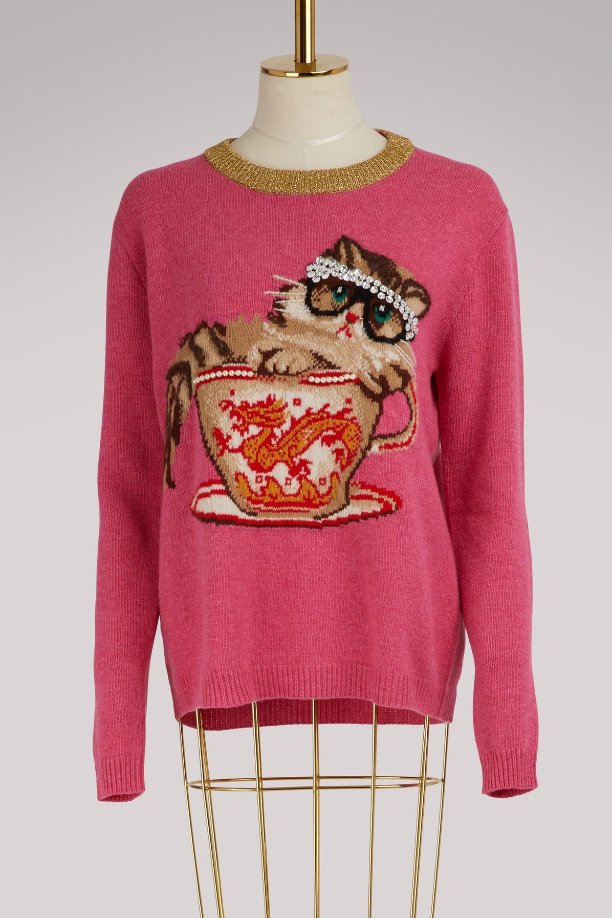 adfc525b94a Lyst - Gucci Cat   Glasses Knit Sweater in Pink