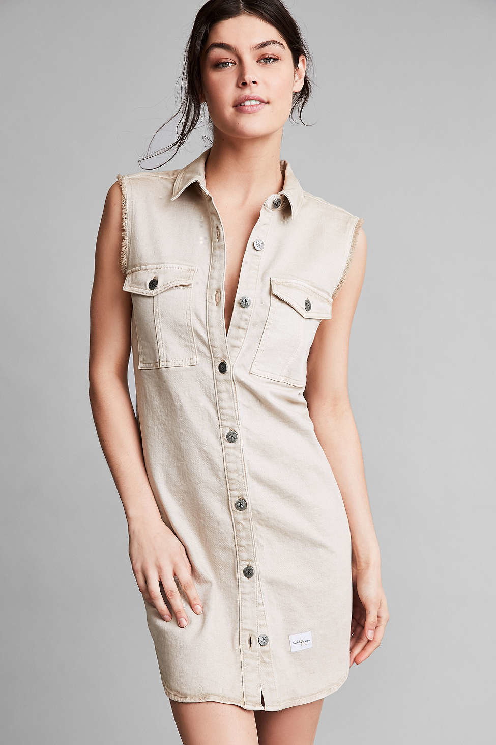 Calvin klein For Uo Khaki Sleeveless Shirt Dress in Black ...