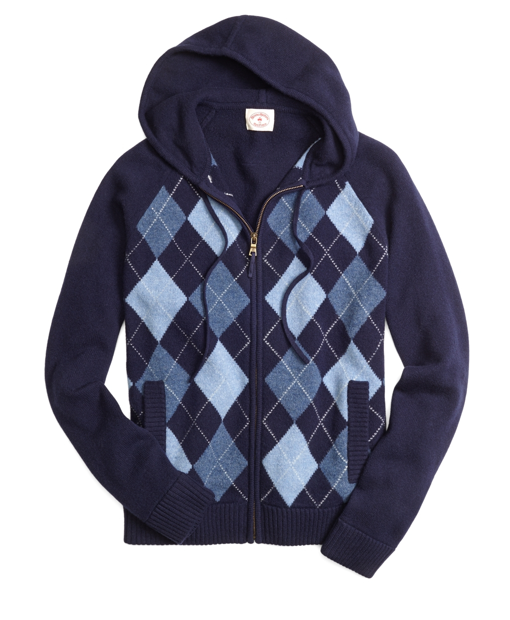 8d659ec88d61 Lyst - Brooks Brothers Argyle Hooded Sweater in Blue for Men