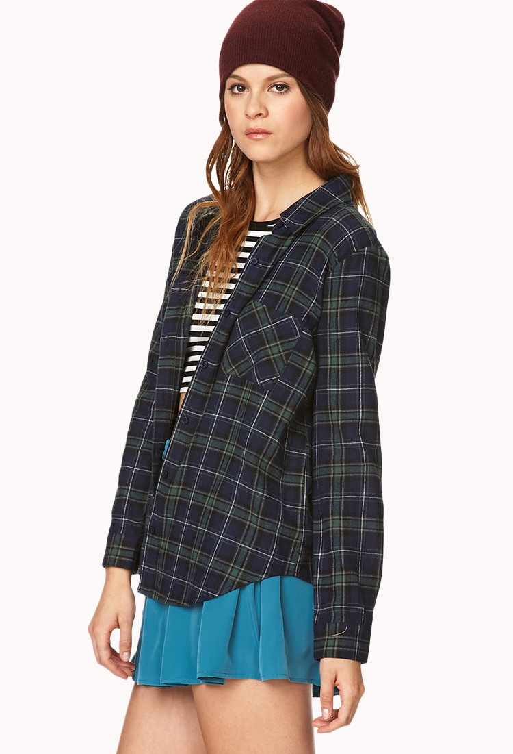 Lyst forever 21 classic flannel in blue for Flannel shirts for womens forever 21