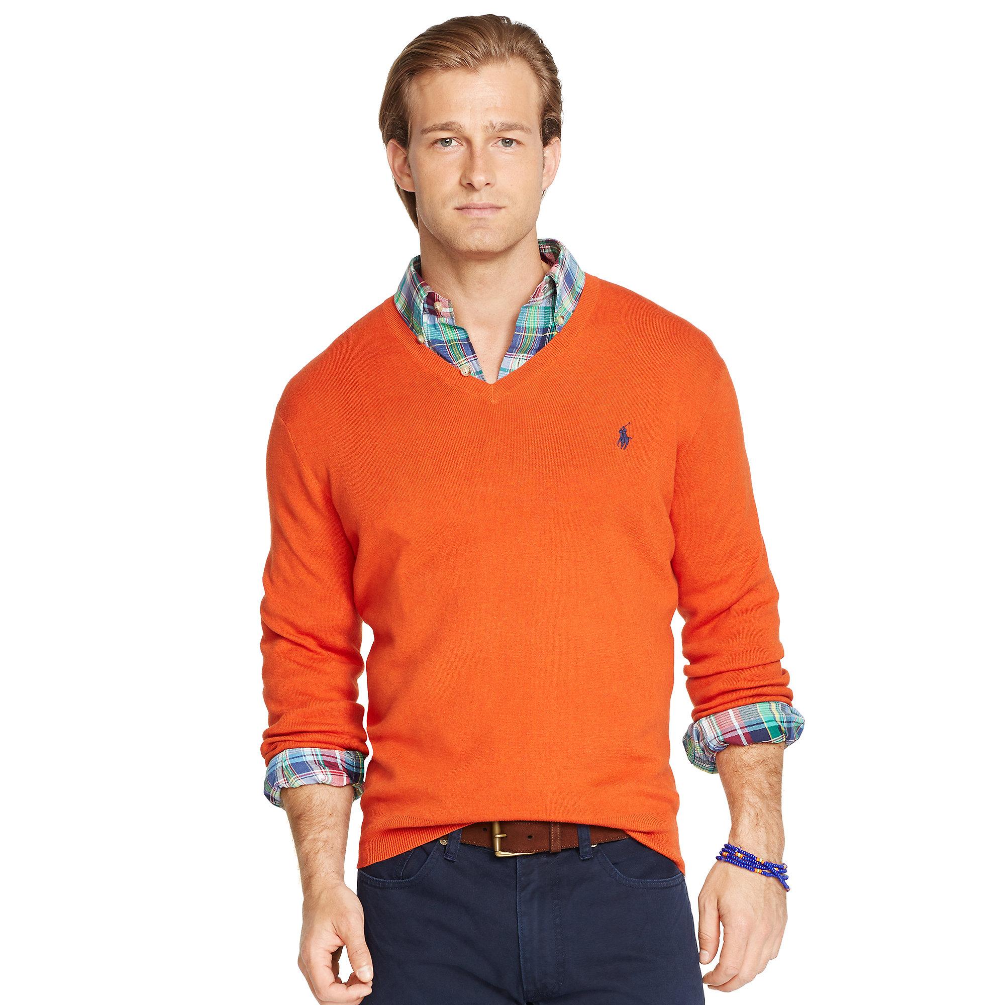 Ralph lauren Pima Cotton V-Neck Sweater in Orange for Men | Lyst