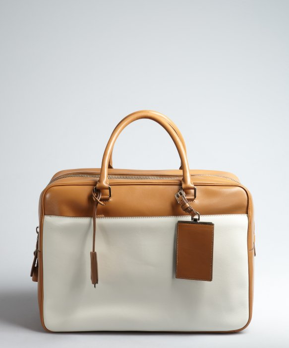 Prada Caramel And Ivory Leather Large Zip Travel Bag in Brown for ...