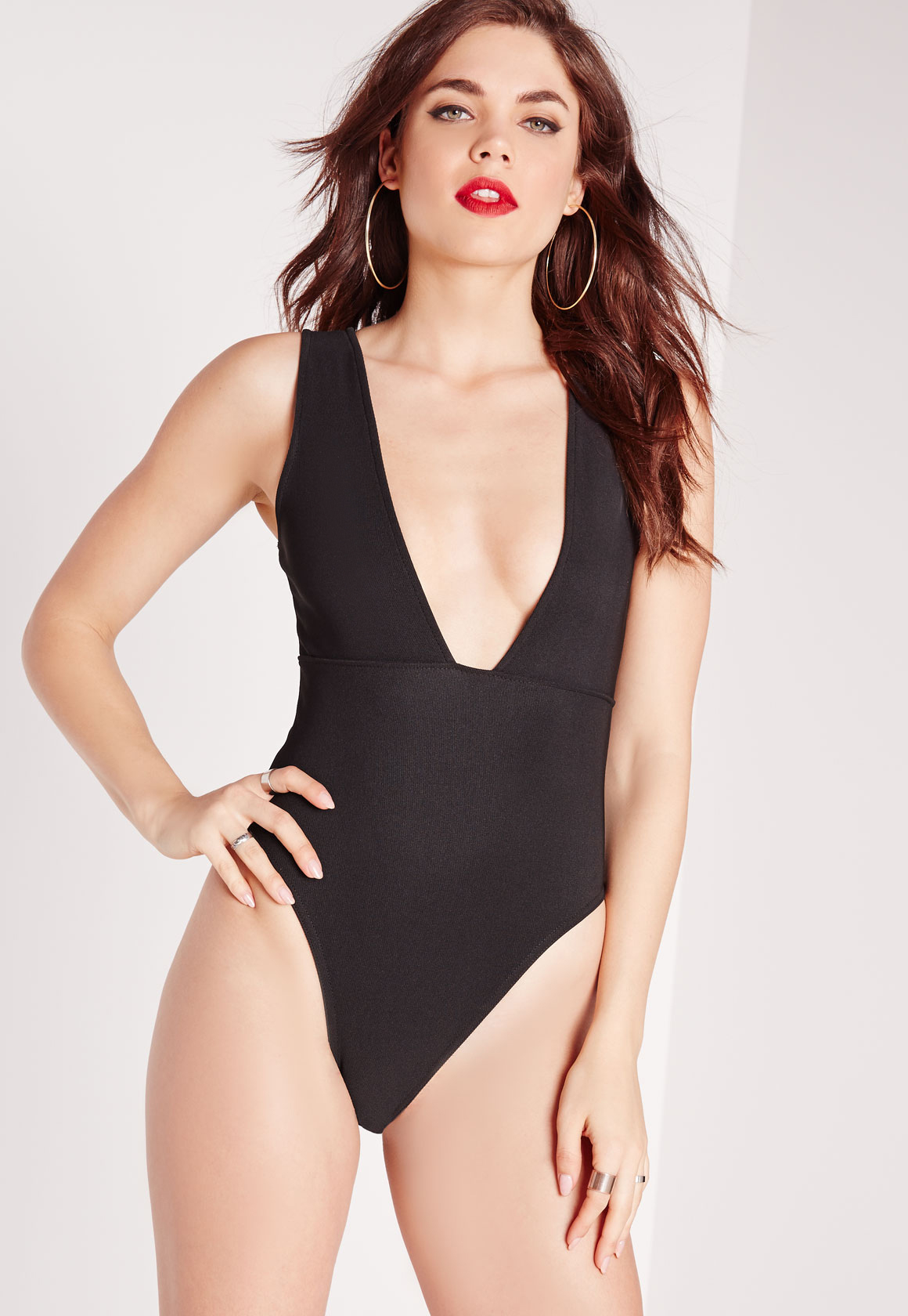 Missguided Plunge Ribbed Bodysuit Black In Black Lyst
