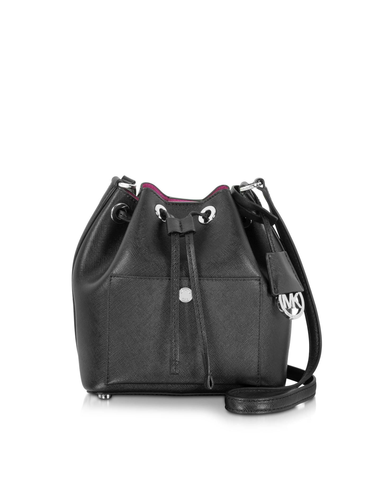 9cc4c5171f1c ... Michael Kors Greenwich Saffiano-Leather Bucket Bag in Black ...