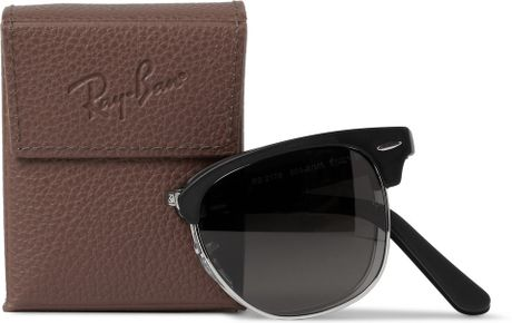 ray ban clubmaster polarised tpr0  Ray-ban Clubmaster Folding Acetate And Metal Polarised Sunglasses