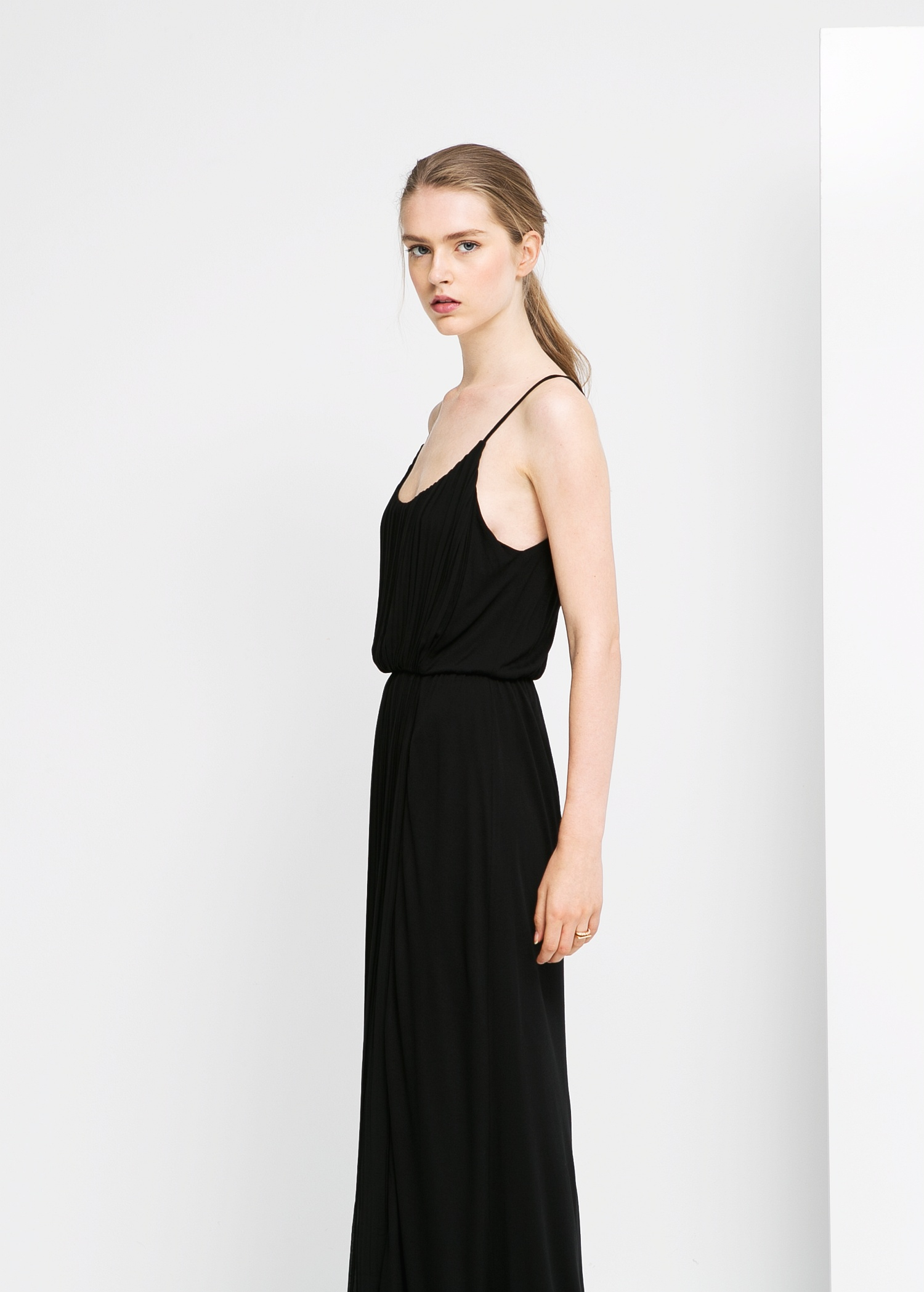 2bb6e218e Mango Black Maxi Dress With Pleated Skirt And Open Back - Data ...