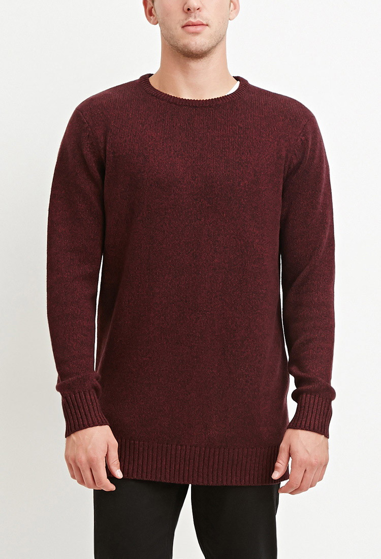 Forever 21 Vented-hem Marled Sweater in Red for Men | Lyst