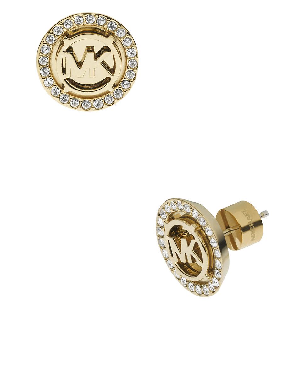 michael kors gold tone crystallized logo stud earrings in