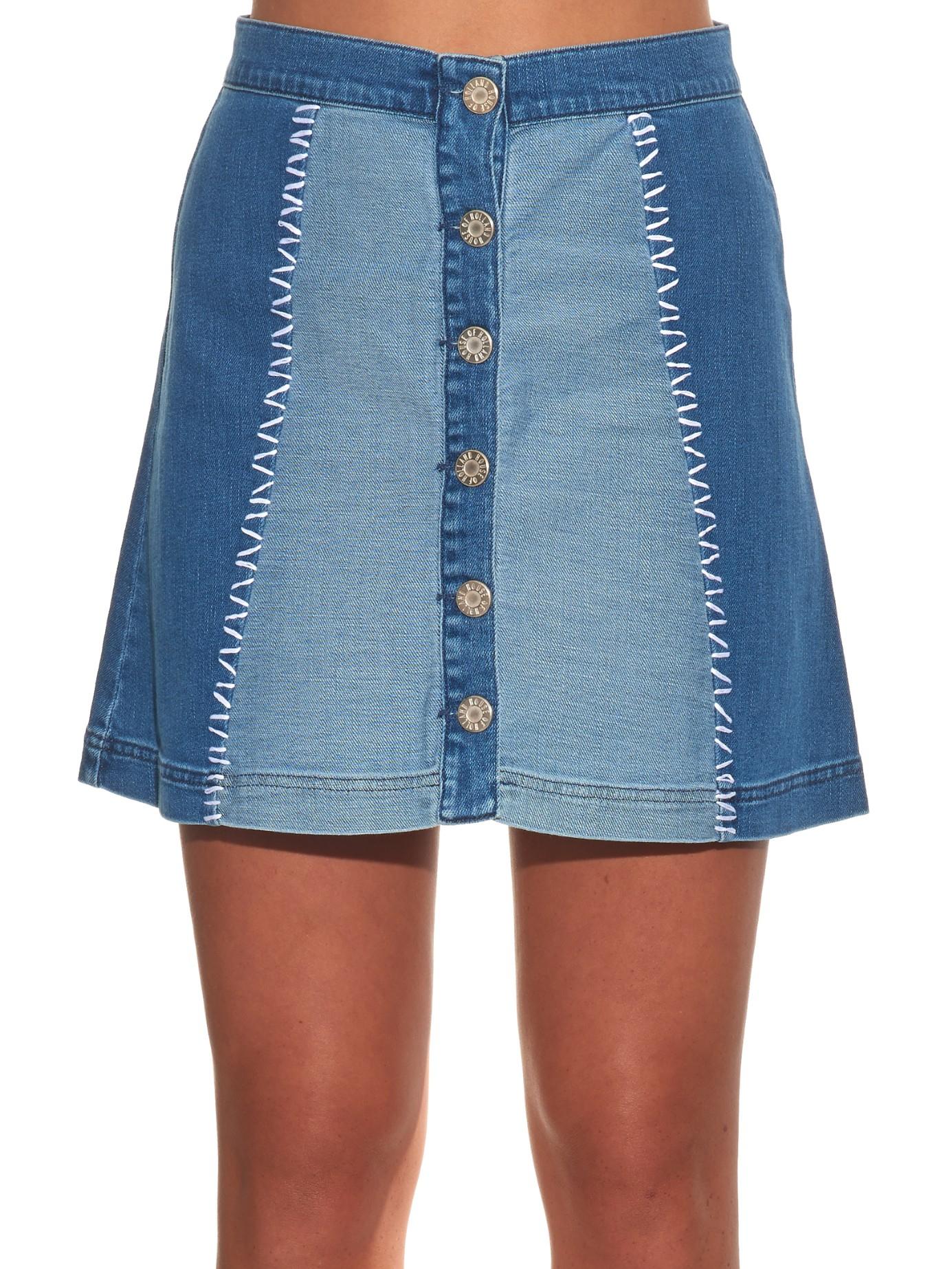 House Of Holland Patchwork Denim Mini Skirt In Blue Lyst
