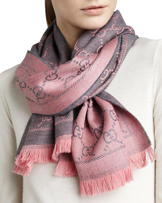 lyst gucci logoprint wool scarf in pink
