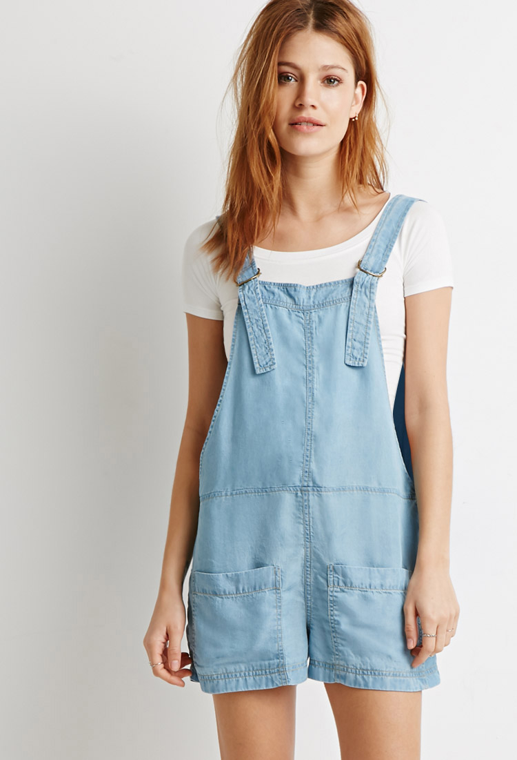 f0713a5e7b3 Lyst - Forever 21 Life In Progress Chambray D-Ring Overalls in Blue