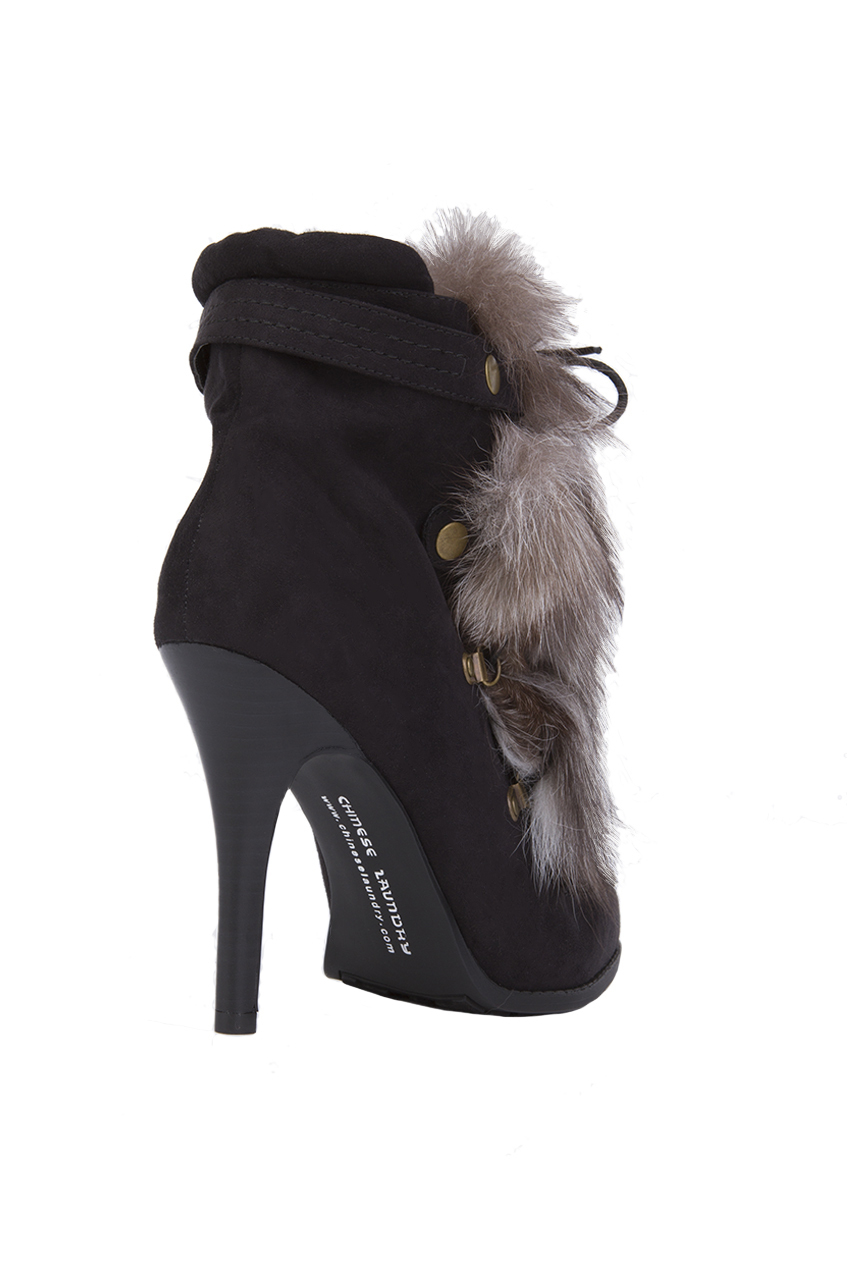 Lyst - Chinese Laundry Hurry-up Faux Suede Fur Ankle Boots - Black ... 7736a51e2e7b