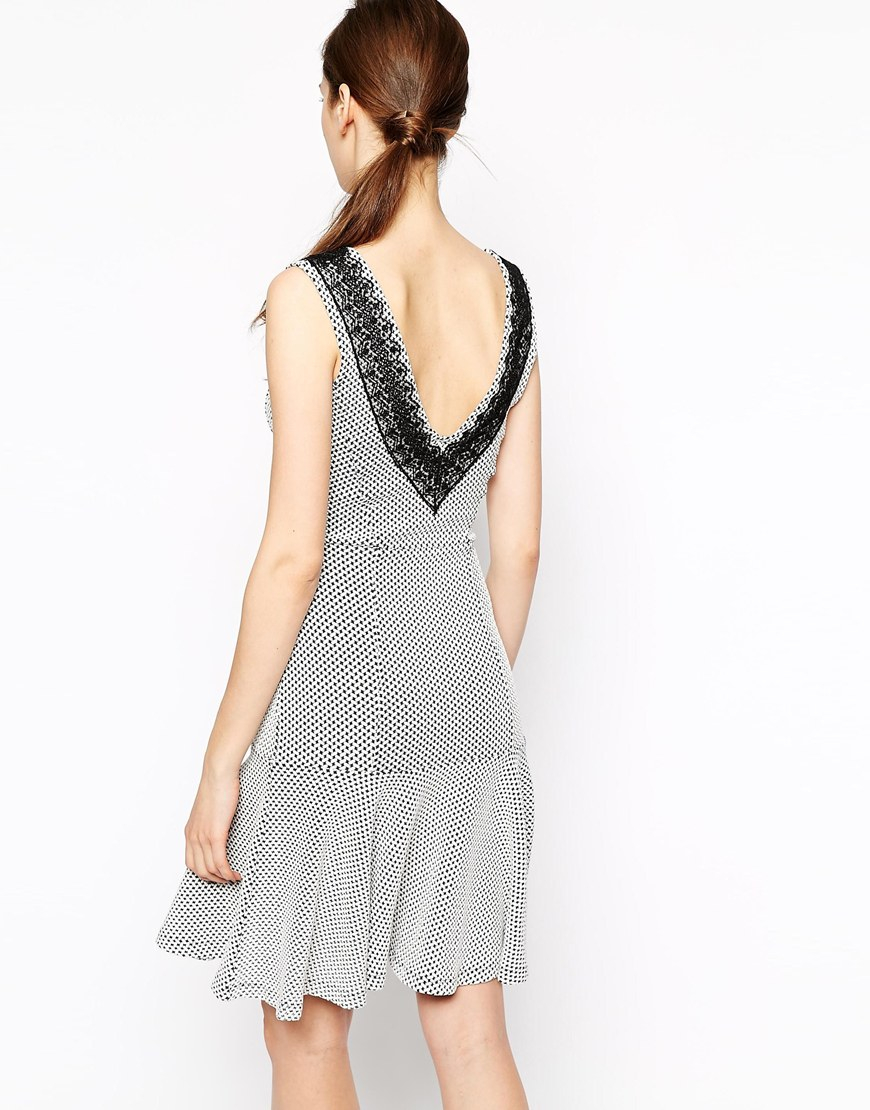 French Connection Colour Block Texture Dress With Lace