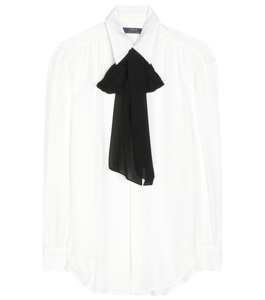 8c2abb9cf9b678 Polo Ralph Lauren Eloise Pussy-bow Silk Shirt in White - Lyst
