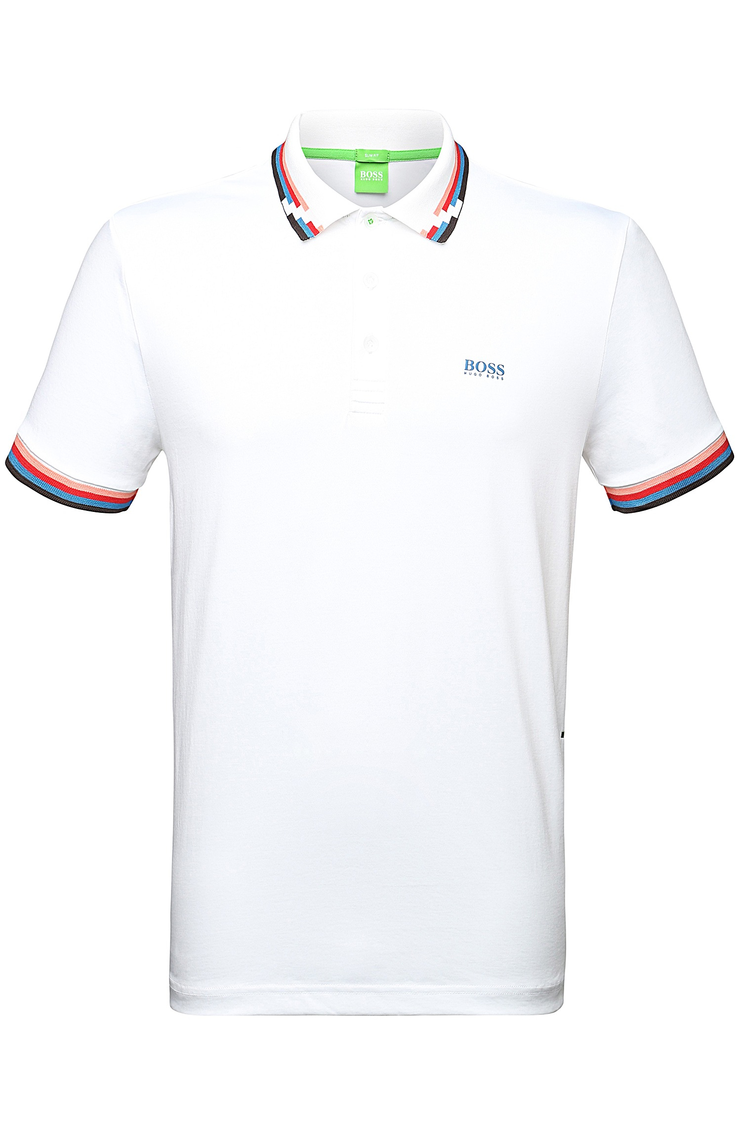 9e74c5af BOSS Green Slim-fit Cotton-blend Polo Shirt: 'paule 7' in White for ...
