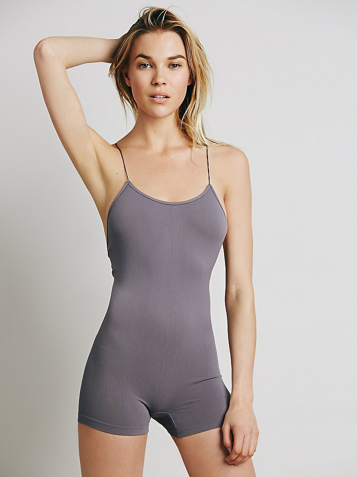 742f085f10a6 Lyst - Free People Intimately Womens Low Back Seamless Romper in Gray