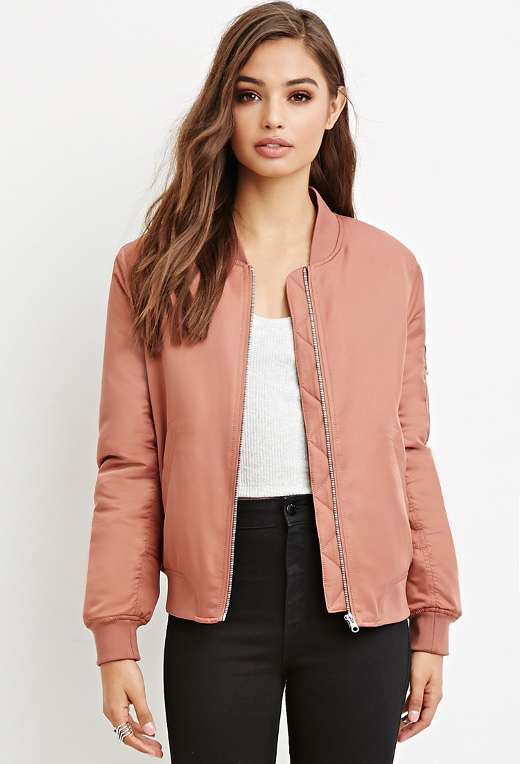 Forever 21 Quilted Bomber Jacket In Pink Lyst