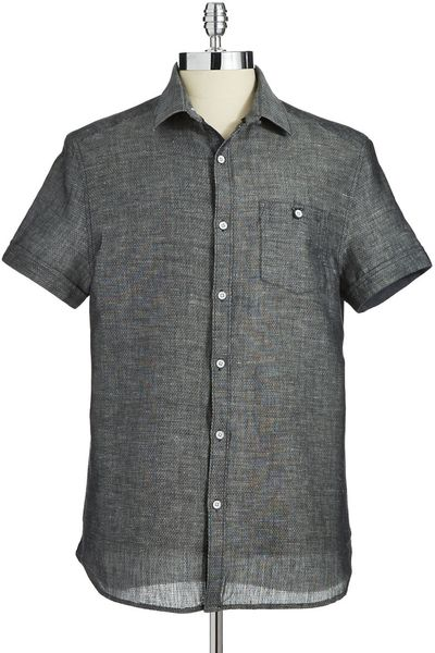 Kenneth cole muted patterned button down shirt in gray for for Mens grey button down dress shirt
