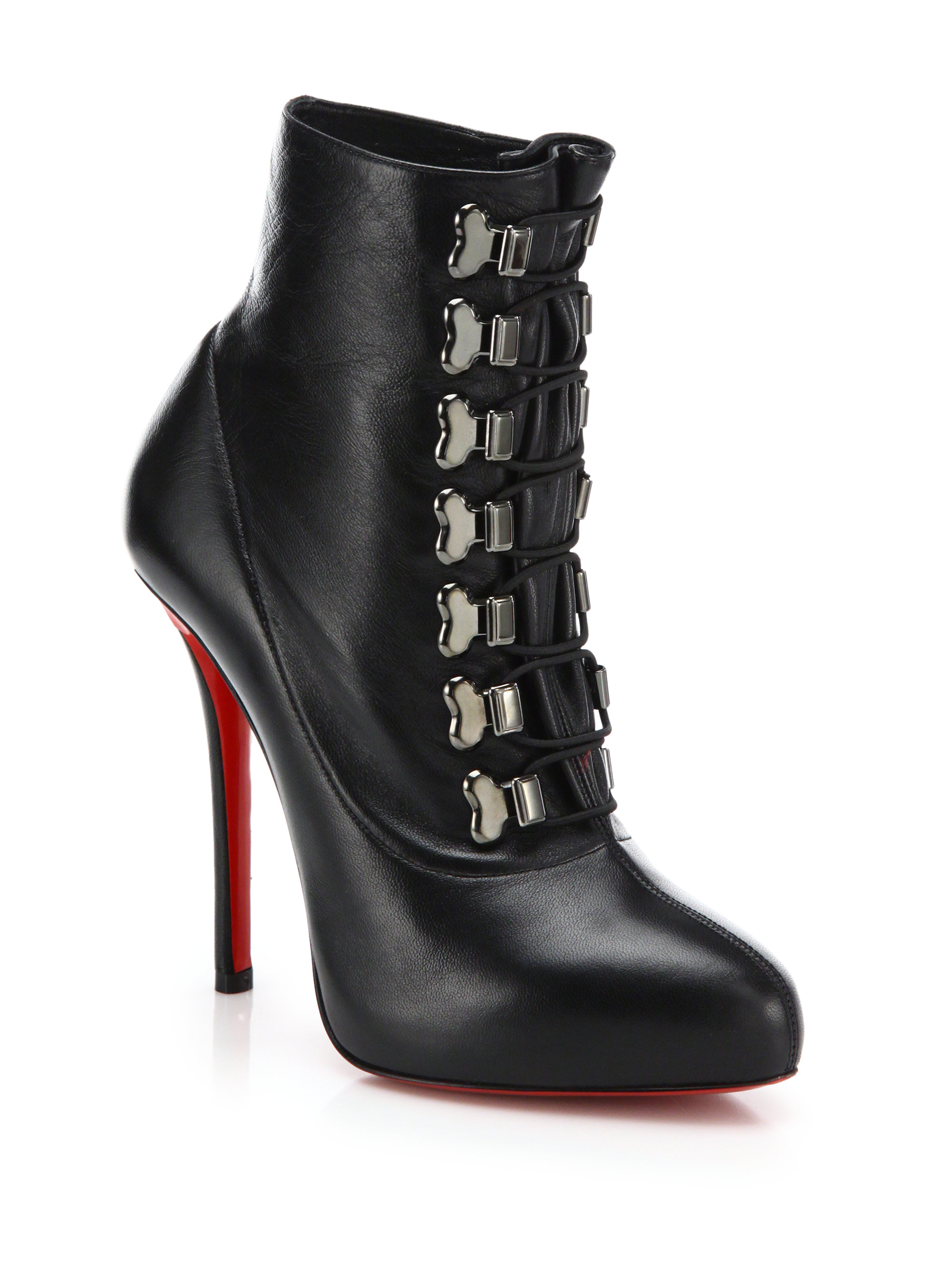 Exiting black leather boots red sole