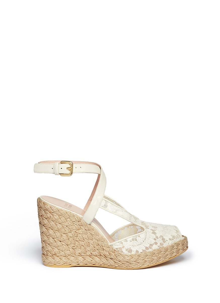 Stuart Weitzman Touring Guipure Lace Espadrille Wedge