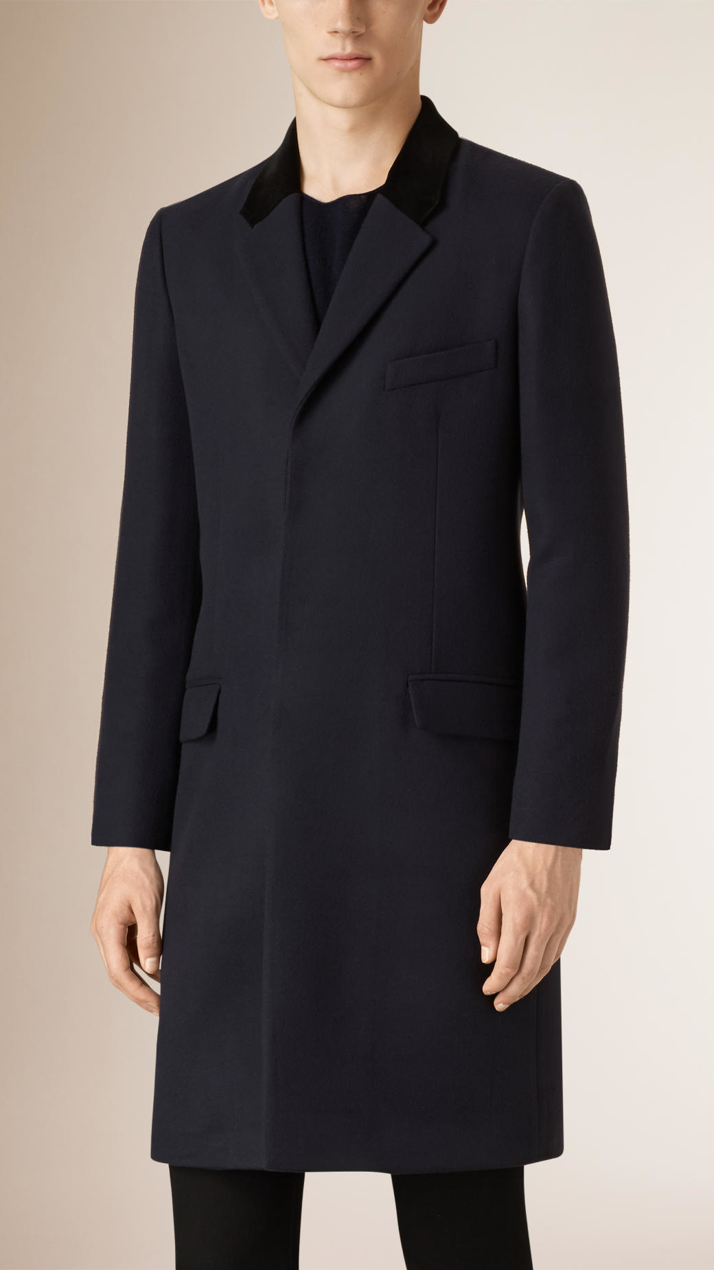 2d1d34f4c870 Burberry Cashmere Blend Chesterfield With Velvet Collar in Blue for ...