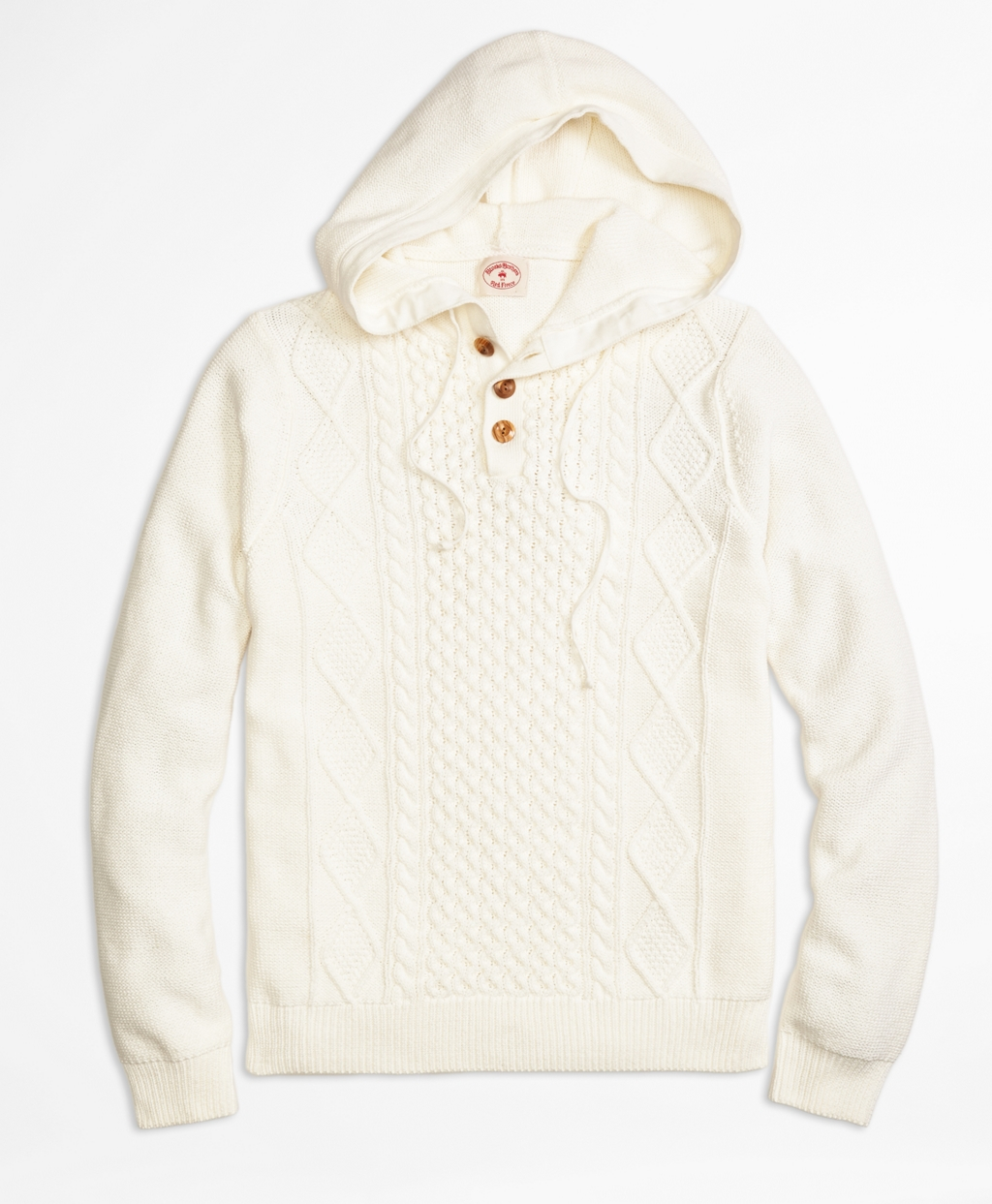 Brooks brothers Cable Henley Hooded Sweater in White for Men | Lyst